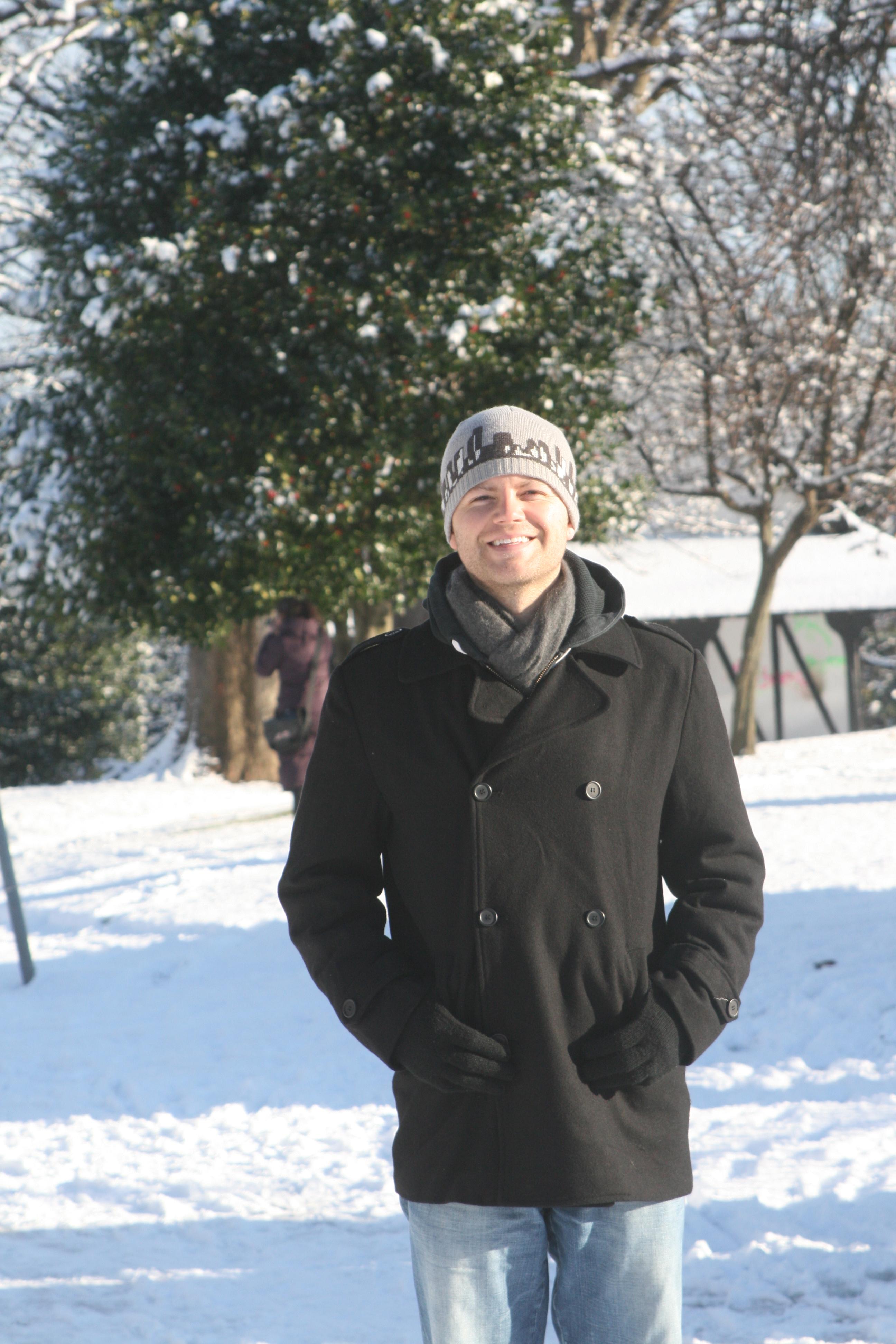Smurfit MBA student Patrick Hillis in snowy Blackrock Park